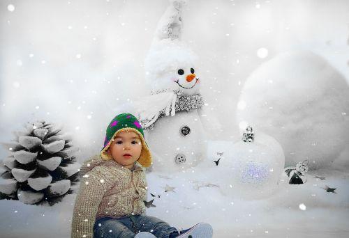 snow man child winter