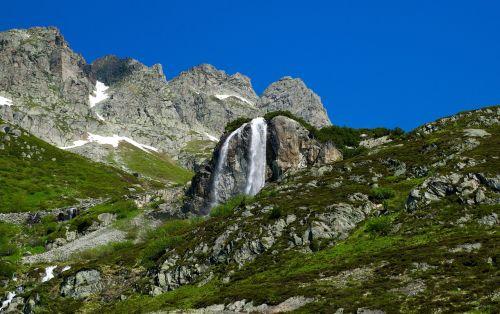 snow melt waterfall alpine
