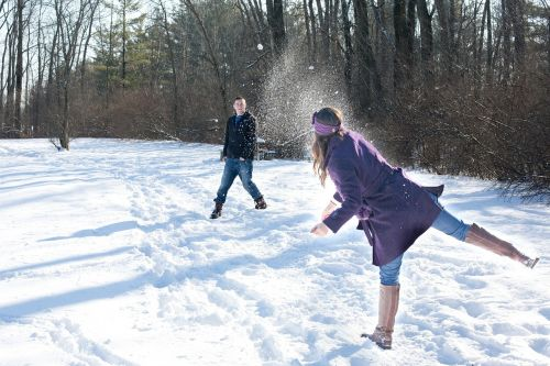 snowball fight snow winter