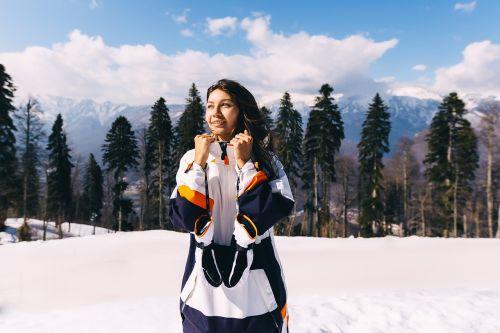 snowboard girl mountains