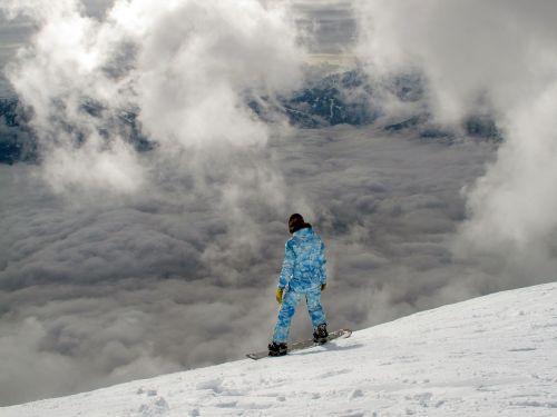 snowboarding aerial view mountain