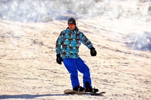 snowboarding man winter