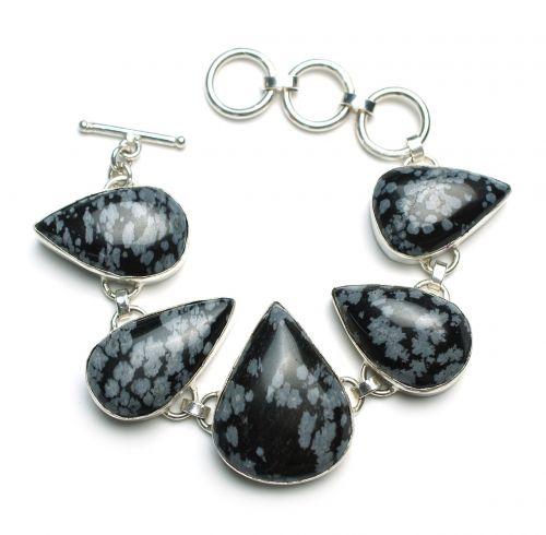 snowflake obsidian bracelet stone