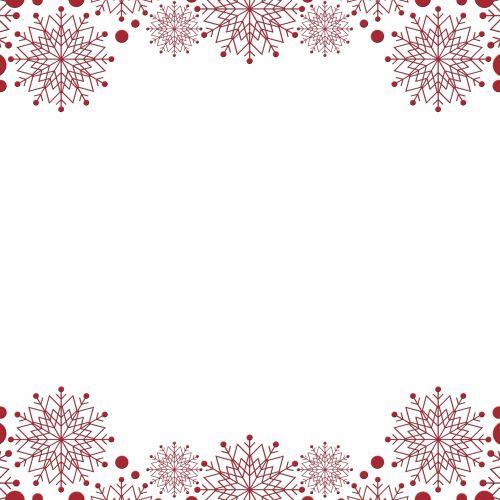 Snowflakes Border Red