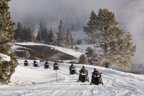 snowmobiles snow path