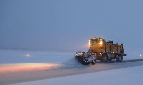 snowplow road night