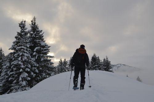 snowshoeing hiking snow