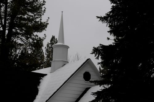 Snowy Church Steeple