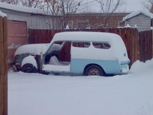 Snowy Classic Car