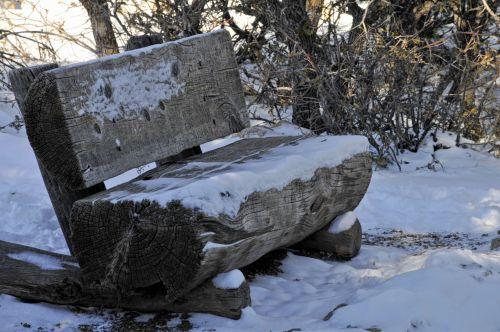 Snowy Log Bench