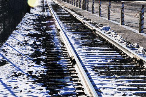 Snowy Railroad Tracks