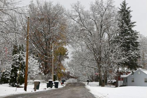 Snowy Suburban Street