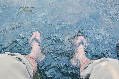 soak in the stream  water  foot