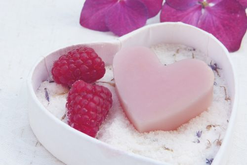 soap heart pink