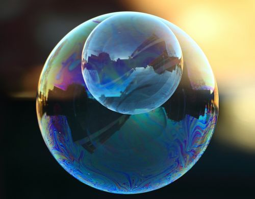 soap bubble colorful mirroring