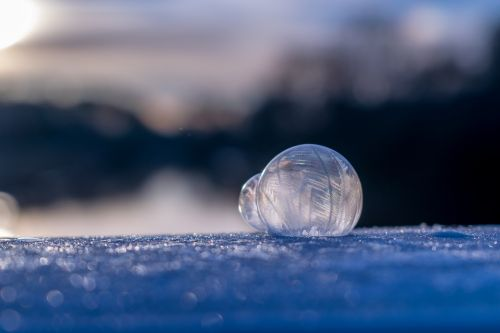 soap bubble frozen winter