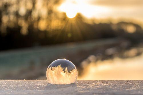 soap bubble frozen winter