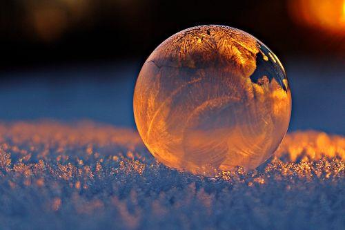 soap bubble evening light frost blister