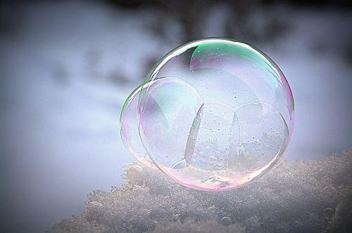 soap bubble frozen wintry