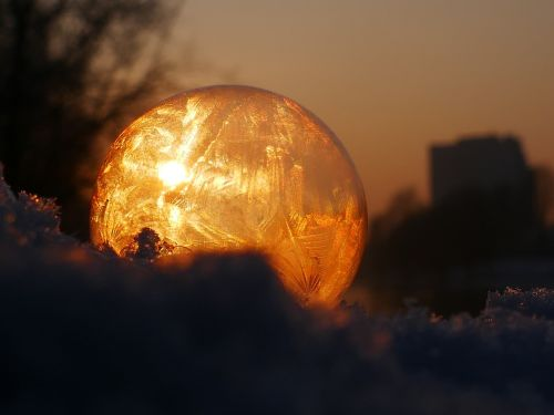 soap bubble frozen frost