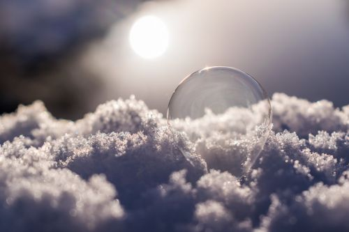 soap bubble snow frozen