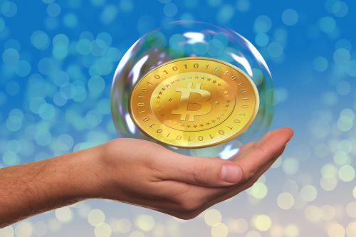 soap bubble bitcoin hand