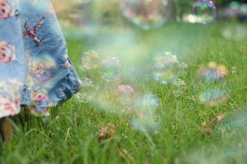 soap bubble meadow slightly