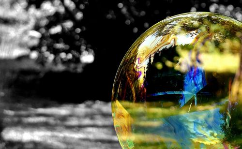 soap bubble black and white colorful