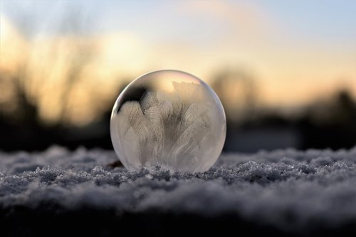 soap bubble  frozen  hardest