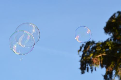 soap bubbles colorful balls
