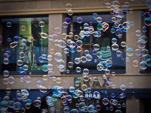 soap bubbles blow colorful