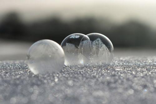 soap bubbles frozen frost