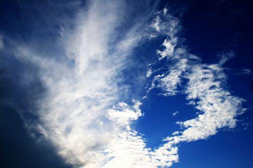 dangus, mėlynas, debesis, balta, minkštas, minkštas baltas debesys