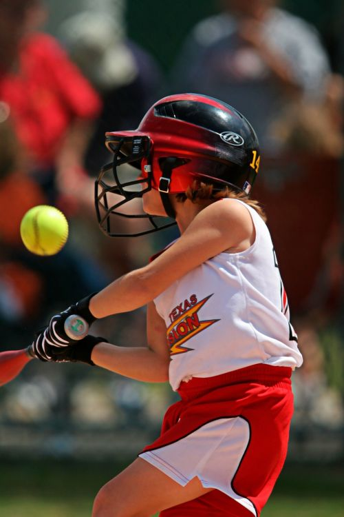 softball batter swinging