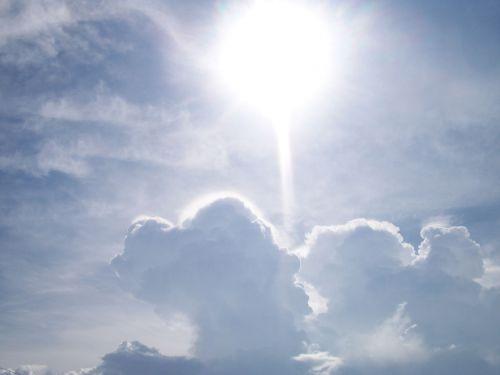 saulė, šviesa, dangus, debesis, Debesuota, šviesus, balta, saulė ir debesys