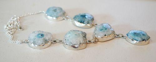 solar quartz geode stone necklace
