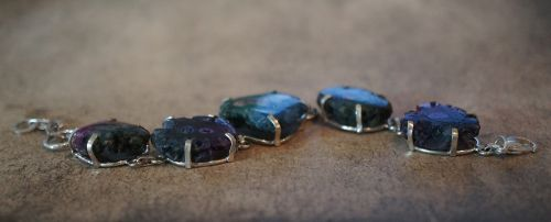 solar quartz geode stone bracelet