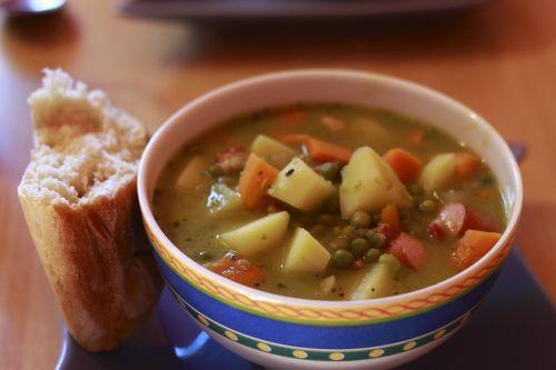 soup bread pea soup
