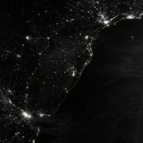 south america atlantic coast city lights