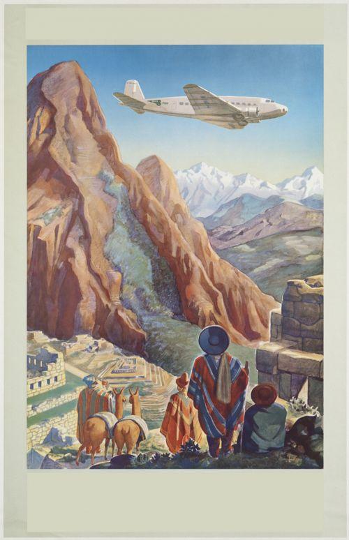 vintage, plakatas, Pietų Amerika, kelionė, skelbimas & nbsp, tekstas, Pietų Amerika derliaus plakatas