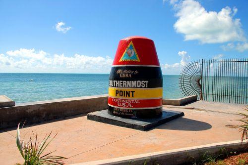 pietinė dalis & nbsp, taškas, orientyras, pagrindinis & nbsp, vakarus, florida, usa, žymeklis, atostogos, atogrąžų klimatas, turizmas, vandenynas, jūros dugnas, įlanka, pietų labiausiai taškas orientyras
