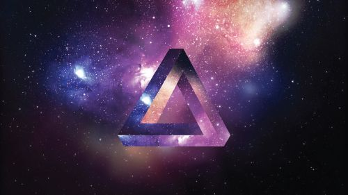 space triangle colorful
