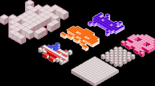space invaders computer game blocks