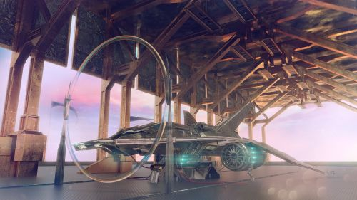 space port space ship scifi