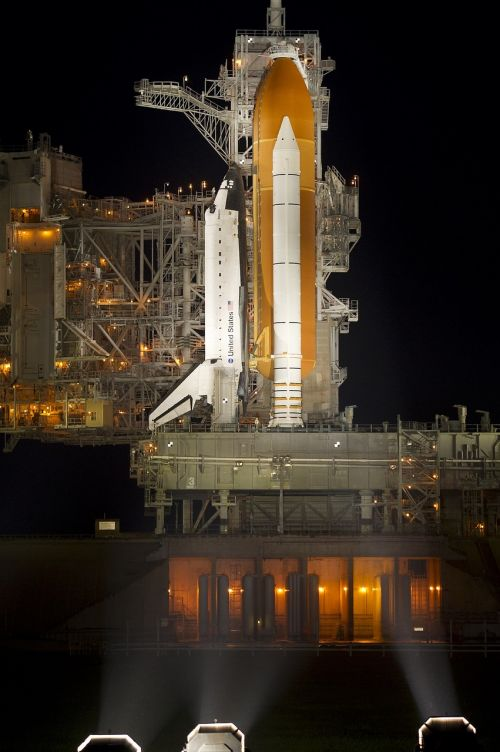 space shuttle atlantis night