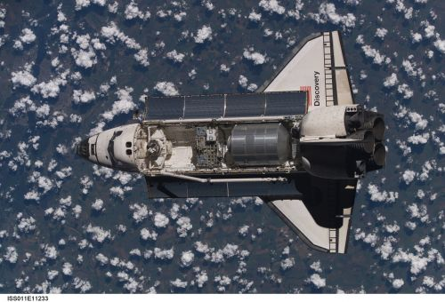 space shuttle discovery above