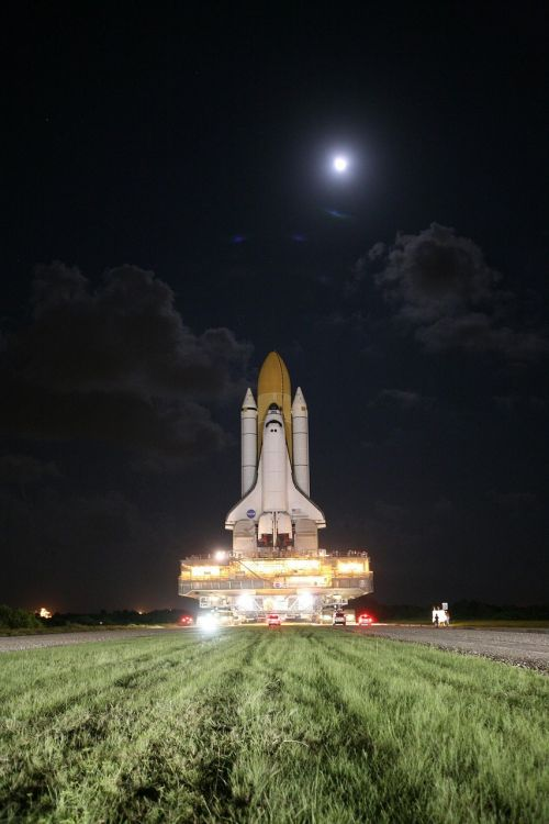 space shuttle rollout moon