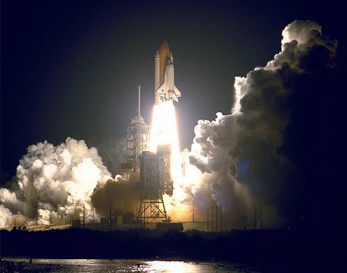 space shuttle endeavour launch liftoff night