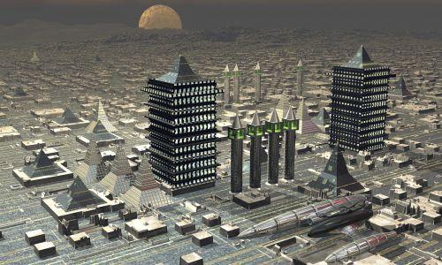 spaceship city futuristic