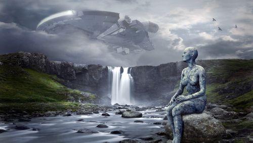 spaceship ufo landscape
